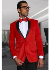 Mens Red  Velvet Fabric Black Lapeled Tuxedo Discounted Blazer Sportcoat Jacket  on Sale