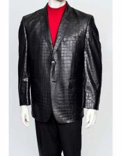 Mens Black 2 Button Crocodile Print Notch Lapel Leather Print Blazer