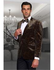 Tan Paisley Velvet Fabric