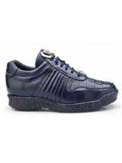 Authentic Belvedere Exotic Skin Brand Mens Navy Genuine Crocodile and Soft