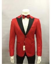 Red and Black Lapel Tuxedo Blazer Dinner Jacket