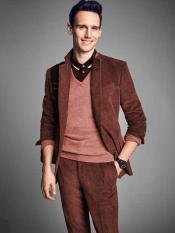 Rust Notch Lapel Velvet