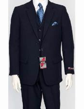 Dark Navy 3 Piece Regular Fit Poly Poplin Notch Lapel Single