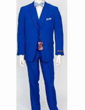 Royal 3 Piece Poly Poplin Notch Lapel Matching Vest Dress Dress Suits for Men Wth Pleated Pant