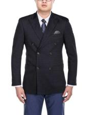 SKU#SM2796 Men's Double Breasted Slim Fit Navy Blue Nailshead Peak Lapel Side Vent Blazer