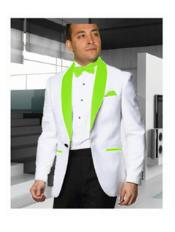SKU#SS-B102 Mens 1 Button White Tuxedo with a Lime Green Shawl Lapel Dinner Jacket Blazer Sportcoat