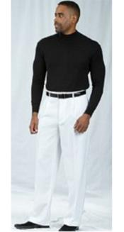 SKU#SS-R107 Pacelli White Pleated Baggy Fit Dress Pants