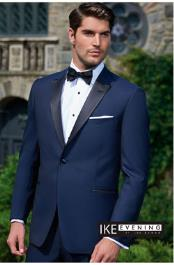 Peak Navy 1-Button Tuxedo Ike Evening by Ike Behar Tuxedo Authentic