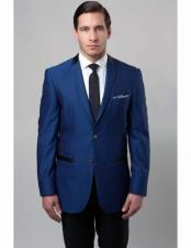 Dark Blue Slim Fit Poly Rayon 2 Button Notch Lapel Single