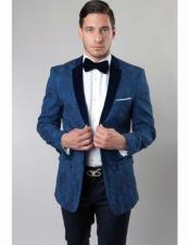 Floral Pattern Slim Fit 2 Button Solid Velvet Notch Lapel Cheap