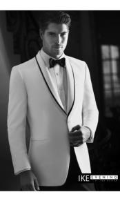 White 1-Button Shawl Tuxedo Ike Evening by Ike Behar Tuxedo Authentic