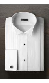White Pleated Wingtip Tuxedo Shirt Ike Evening by Ike Behar Tuxedo