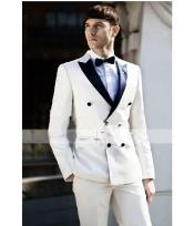 Ivory ~ Cream ~ Off White  Tuxedo Double Breasted Style Black Lapel Two Toned 100% wool