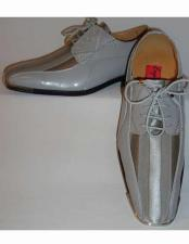 Gorgeous Laceup Style Satin Striped Classy Silvertip Silver/Gray Dress Shoes