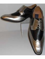 Mens Gorgeous Wingtip Laceup Style Antique Metallic Silver & Black Dress