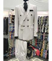SKU#SM3002 6 on 2 Double Breasted White and Black Stripe 100% Wool Suit For Men
