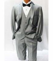Fiorelli Grey ~ Gray Vested Tuxedo Suit Mens Suits Vested 3 Piece