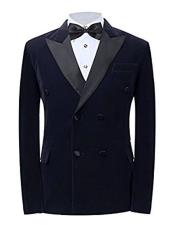 SKU#CH07 Mens Peak Lapel Double Breasted Navy Button Closure Blazer