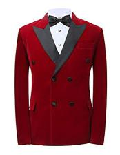 SKU#CH12 Mens Red Button Closure Peak Lapel Double Breasted Blazer