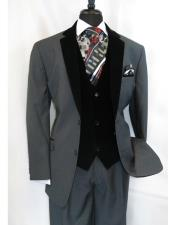 Single Breasted Two Button Black Velour Notch Velvet Lapel Vested Side Vents Tuxedo Black Lapeled 2 toned