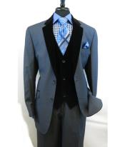 Blue Velour Notch Velvet Lapel Vested Two Button Single Breasted Side Vents Tuxedo Black Lapeled 2 toned