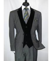 Notch Velvet Lapel Single Breasted Two Button Grey Velour Vested Side Vents Tuxedo Black Lapeled 2 toned
