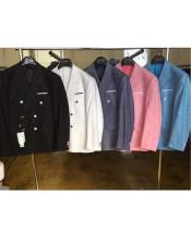 SKU#CH51 Mens Linen Double Breasted Blazer Sport Coat Jacket Black/White/Charcoal/Pink/Blue