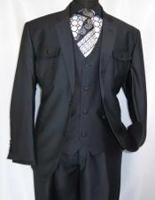 SKU#CH58 Mens Single Breasted Notch Lapel Black Safari Style 3 Piece Fashion Poly/Rayon Super Fabric Suit