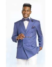 SKU#CH60 Double Breasted Blazer / Sportcoat Jacket Blue