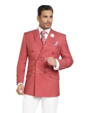 SKU#CH61 Double Breasted Blazer / Sportcoat Jacket Red