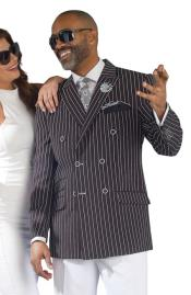 SKU#CH63 Pinstripe ~ Stripe Black Double Breasted Blazer Sport Coat Jacket For Men