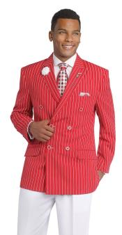 SKU#CH64 Pinstripe ~ Stripe Double Breasted Blazer Red Sport Coat Jacket For Men