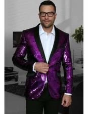 Purple Shiny Sequin Paisley 1 Button Blazer Dinner Jacket Sport Coat