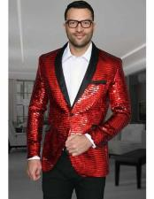 Shiny Sequin Paisley Cheap Blazer Jacket For Men Slim Fit Red Dinner Jacket Sport Coat Jacket Sharkskin