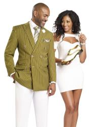 SKU#CH66 Gangester 1920s Clothing Bold Chalk Bold Pinstripe Double Breasted Suits (White Pants) Olive