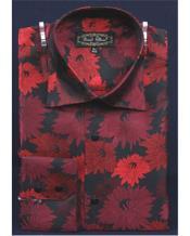 Mens High Collar Club Shiny Black Floral Pattern Shirt