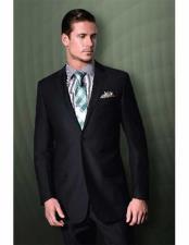 Tiglio Mens 2 Button Textured Pattern Notch Lapel Black Modern Fit Suit