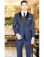 1 Button French Blue Shawl Lapel Single Breasted Vest Tuxedo Suit