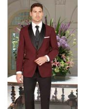 Slim Fit Black and Burgundy ~ Wine ~ Maroon Color Single Breasted 1 Button Shawl Lapel Vest