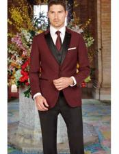 Peak Lapel Slim Fit Black and Burgundy ~ Wine ~ Maroon Color 1 Button Satin Vest Arlan