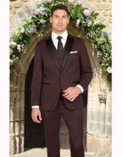 Black and Burgundy ~ Wine ~ Maroon Color Slim Fit 1 Button Satin Peak Lapel Mini Teakweave