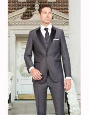 Dark Gray Sharkskin Slim Fit 1 Button Satin Peak Lapel Vested
