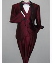 Tuxedo Black and Burgundy ~ Wine ~ Maroon Suit  Slim Fitted 3 Piece Two Toned Shiny