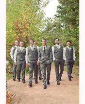 Groomsmen Package Deal Vest & Pants Set (no Jacket) Grey ~ Gray