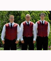 Groomsmen Burgundy ~ Wine ~ Maroon Color Vest + Pants Slacks + Any Color Shirt & Tie