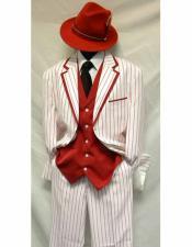 SKU#CH103 Gangster Bold Chalk Pinstripe Vested 1920s Seersucker Suit Looking White/Red Pinstripe