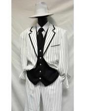 SKU#CH104 Gangster Bold Chalk Pinstripe Vested 1920s Seersucker Suit Looking White/Black Pinstripe