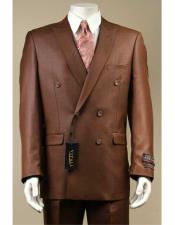 Shiny Sharkskin Double Breasted Rust Suit Pleated Pants With Sheen