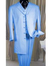 Sky Baby Blue Mens Notch Lapel Light Weight Fabric Long Zoot Suit With Matching Vest