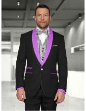 1 Button Shawl Lapel Modern Fit Black/Lavender Two toned Lapel Tuxedos